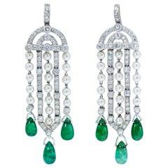 Art Deco Platinum Diamond, Natural Pearl and Emerald Earrings