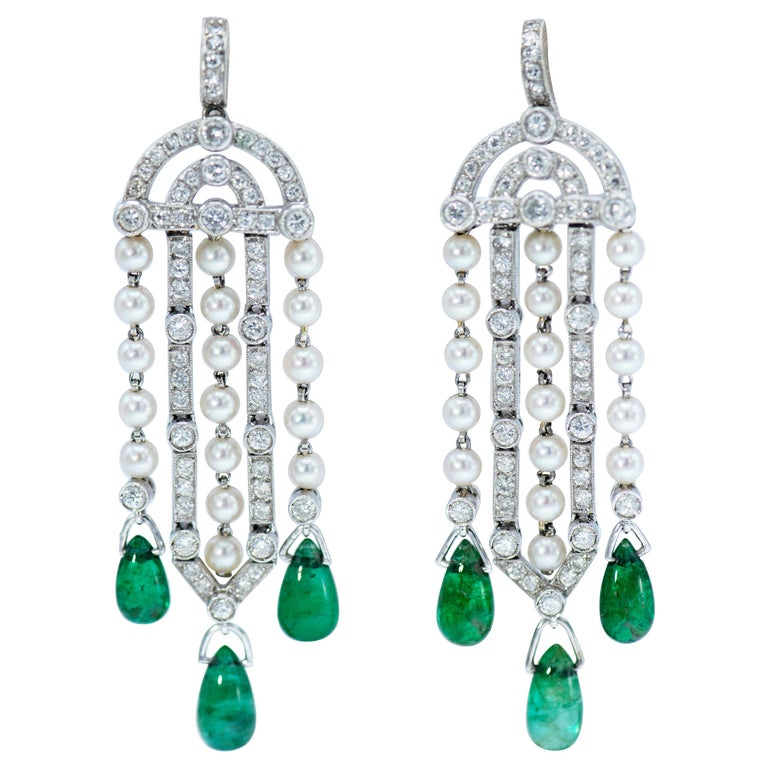 Art Deco Platinum Diamond Natural Pearl And Emerald Earrings For