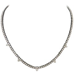 Diamond Straight Line Necklace in 18 Karat 7.61 Carat