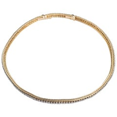 Oscar Heyman Yellow Gold Thin Diamond Necklace 9.00 Carat