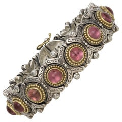 Konstantino Sterling Silver Gold and Pink Tourmaline Bracelet