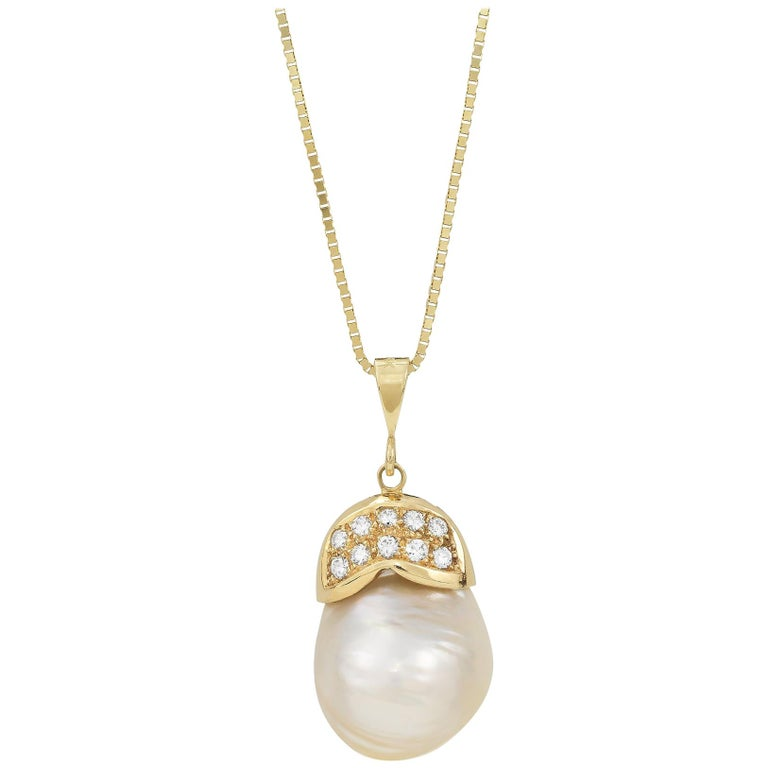 South Sea Baroque Pearl Diamond and Yellow Gold Necklace