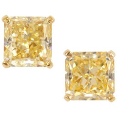 Graff GIA Certified 6.01 Carat Fancy Yellow Radiant Diamond Studs