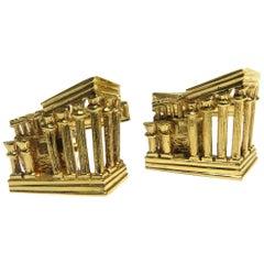 Incredibly Detailed Ancient Ruins 18 Karat Gold 3D Cufflinks
