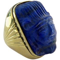 Enormous Carved Lapis Lazuli Unique Gold Face Ring