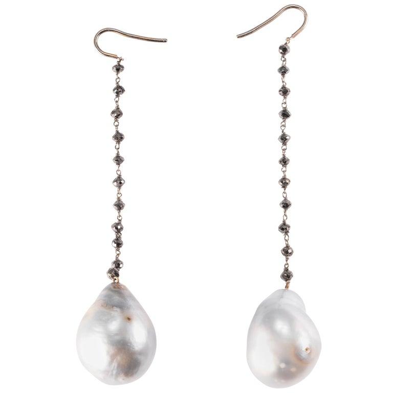 Baroque South Sea Pearl and Black Diamond Drop Earrings