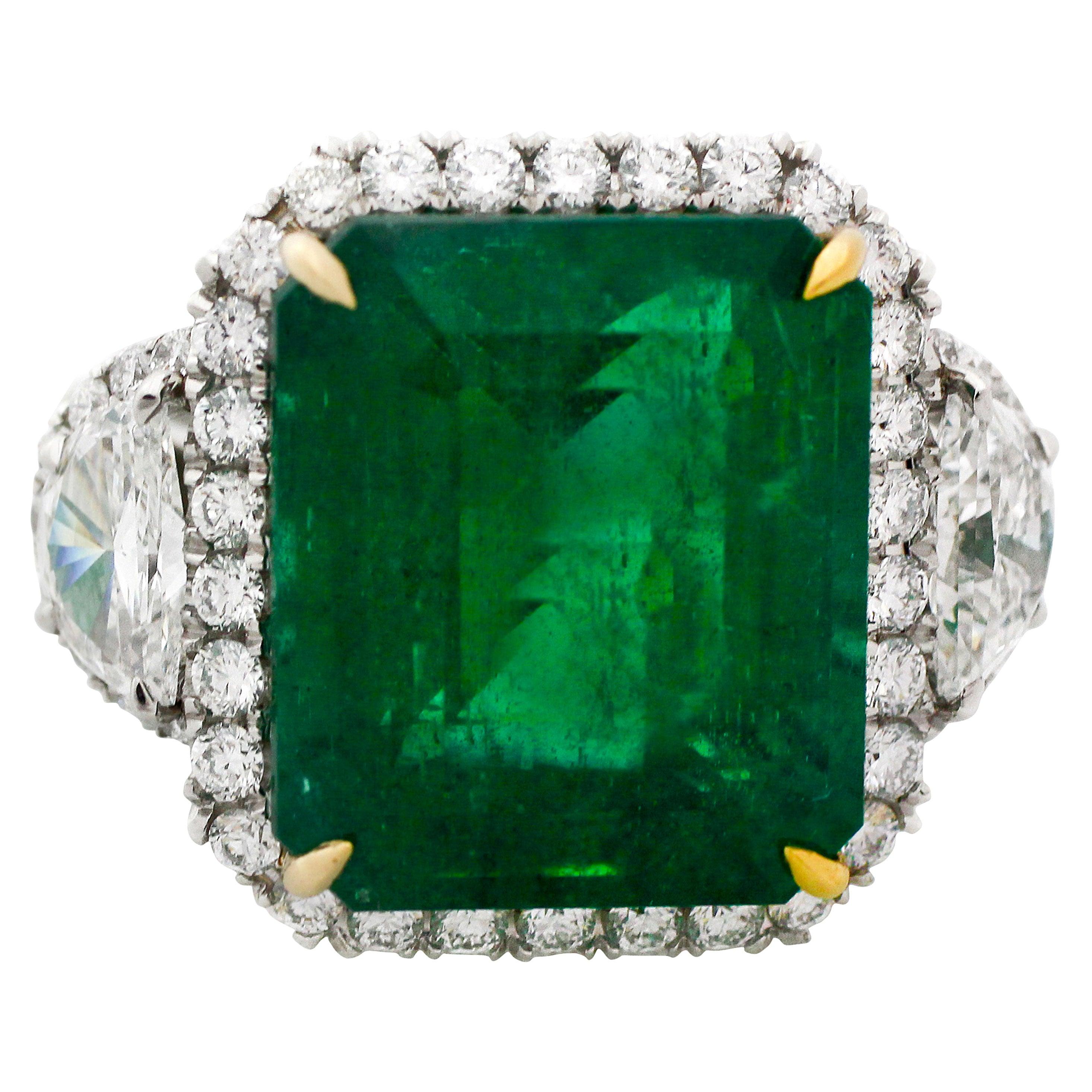 14.13 Carat GIA Certified Green Emerald Diamond Platinum Ring
