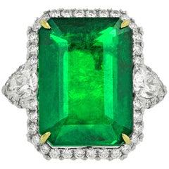 21.10 Carat Green Natural Emerald and Diamond Ring