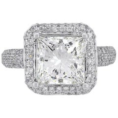 GIA Certified 3.37 Carat Princess Cut Engagement Ring