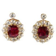 4.12 Carat Unaltered Natural Ruby Yellow Gold Lever-back Diamond Earrings