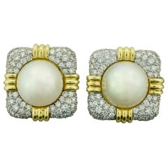 Mabe Pearl and Diamond Pave Earrings in 18 Karat 4.50 Carat