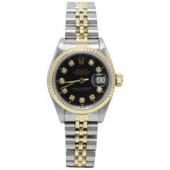 Rolex Ladies Datejust 69173 18 Karat Gold and Stainless Steel Black Diamond Dial
