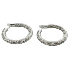 18 Karat Diamond Hoop Pave' Earrings 3.34 Carat