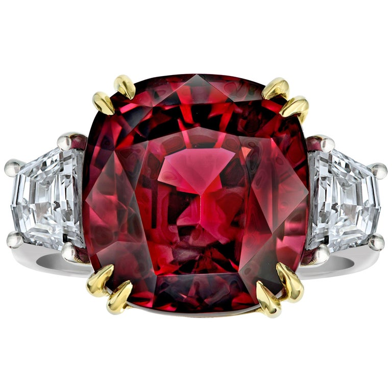 18.37 Carat Cushion Red Spinel and Diamond Platinum and 18k Ring For Sale