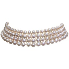 White Pearl and 14 Karat Yellow Gold Beaded Choker with 14 Karat Gold Clasp