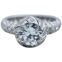 GIA Certified Tiffany & Co. Schlumberger Platinum Engagement Diamond Ring