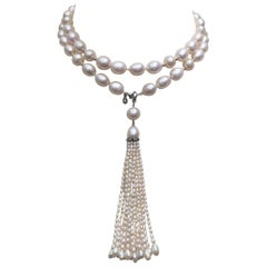 Pearl Necklace with Pearl and Diamond Tassel and 14 Karat Gold Beads and Clasp