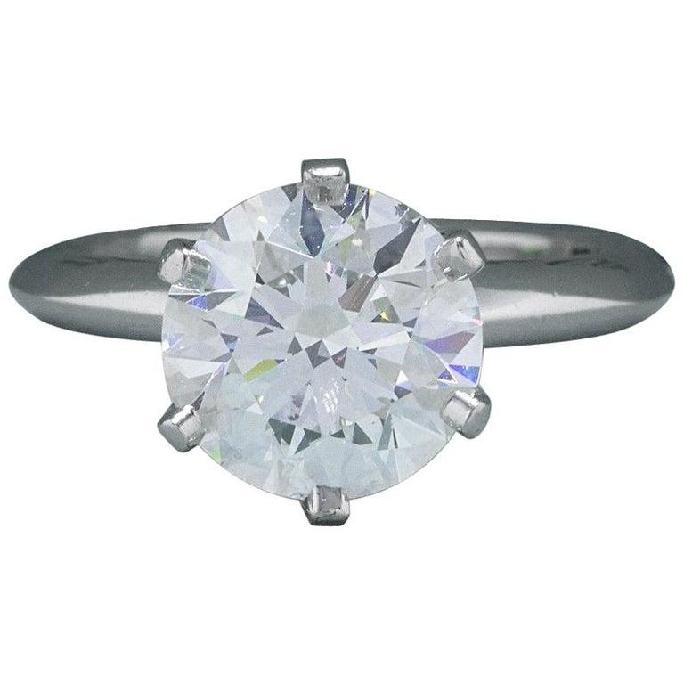 Tiffany & Co. Engagement Ring Round Diamond 2.55 Carat H VVS2 Platinum