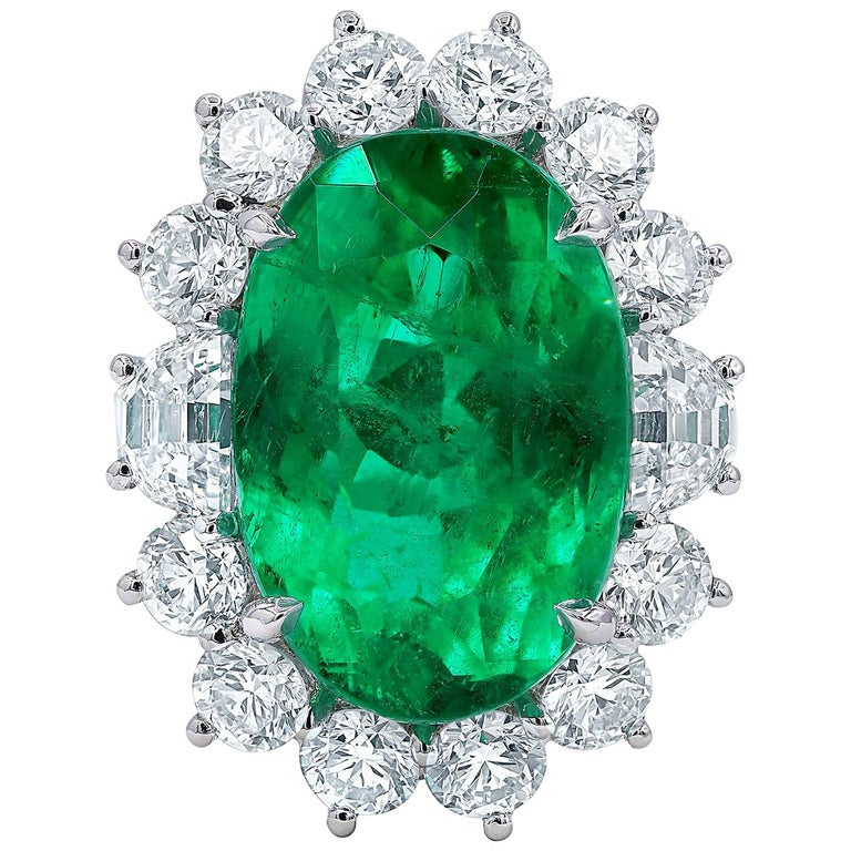 15.72 Carat Colombian Emerald and Diamond Ring