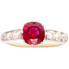 Art Deco 1.44 Carat Burma Ruby Diamond Platinum Gold Engagement Ring