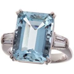 6.84 Carat Aquamarine Diamond Platinum Ring
