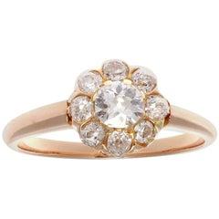 Art Deco Diamond Gold Cluster Engagement Ring