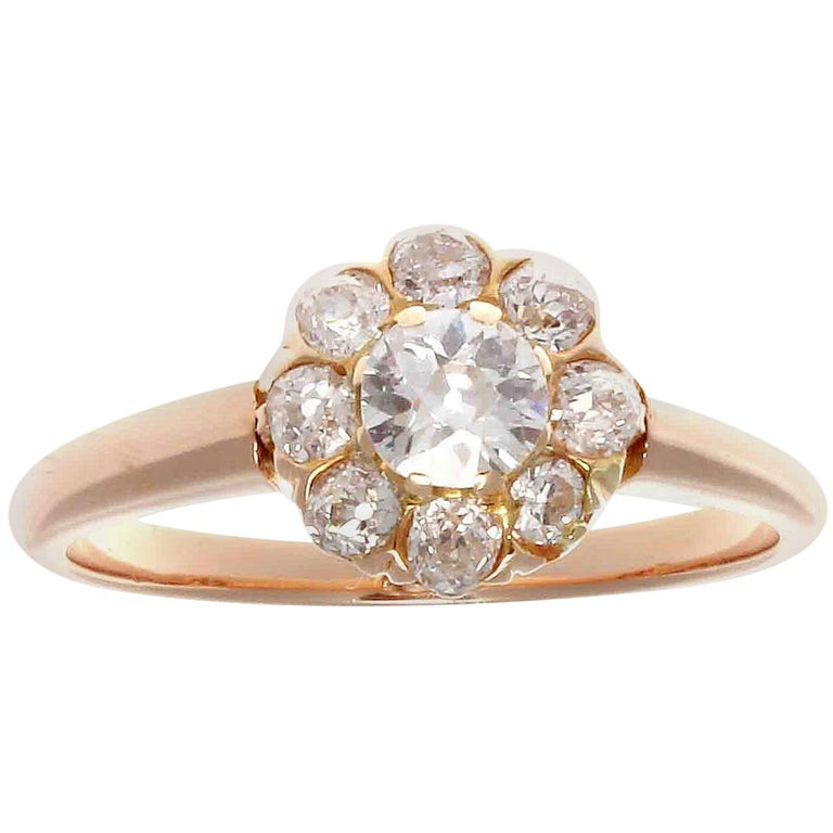 Art Deco Diamond Gold Cluster Engagement Ring