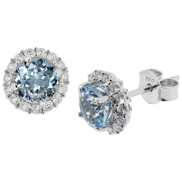 Round Aquamarine and Diamond Halo Stud Earrings