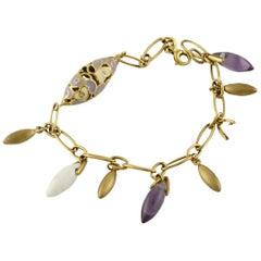 Amethtyste Stones Yellow Gold Bracelet