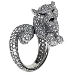 Cartier Panthere Diamonds Platinum Ring