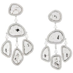 Slice Diamonds White Gold Triple Drop Chandelier Earrings