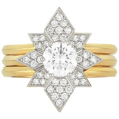 Zoe & Morgan Dahlia & Amara 18k Yellow Gold & Platinum Diamond Wedding Ring Set