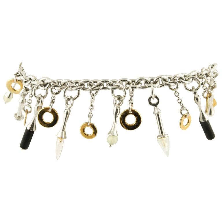 Stones, White gold Charm Bracelet