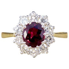 Contemporary Ruby and Diamond Cluster Ring in 18 Carat Gold