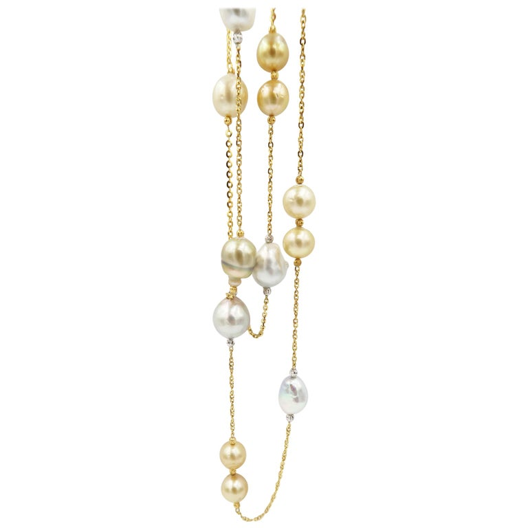 Baroque White South Sea and Gold South Sea Pearl Gold Chain