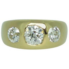 Antique 2.20 Carat Victorian Diamond Three Stone Ring, circa 1886, Yellow Gold
