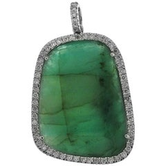 Emerald and White Diamonds on White Gold 18 Karat Pendant
