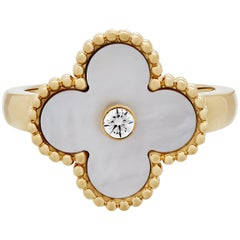 Van Cleef & Arpels 18 Karat Gold Diamond and Mother-of-Pearl Vintage Alhambra