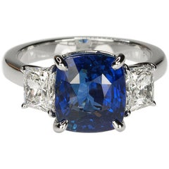 No Heat Vivid Royal Blue Sapphire in Platinum Ring