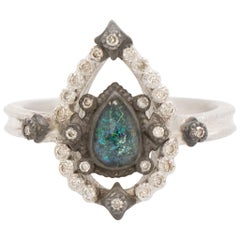 Armenta Old World Petite Open Pear Ring, Black Opal and Quartz, Style 11844