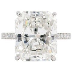J. Birnbach GIA Certified 9.28 Carat Radiant Cut Diamond Ring