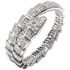 Bulgari Bvlgari Serpenti Bracelet 18k White Gold and Diamonds 9.17 ct. Full Pavé