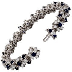 Estate Platinum Diamond and Sapphire Flower Bracelet