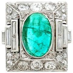 1935 Antique 3.40 Carat Emerald and 2.72 Carat Diamond Platinum Cocktail Ring