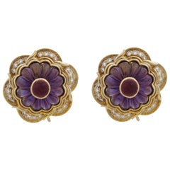 Harry Winston 18 Karat Yellow Gold Amethyst, Ruby and Diamond Vintage Earrings