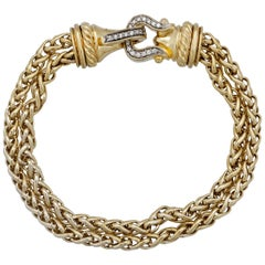David Yurman 18 Karat Yellow Gold Diamond Double Cable Buckle Bracelet