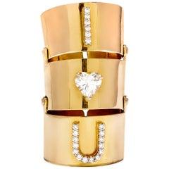 "9 Karat Yellow Gold and Heart Shape Diamond Solitaire ""I Love You"" Flexible"