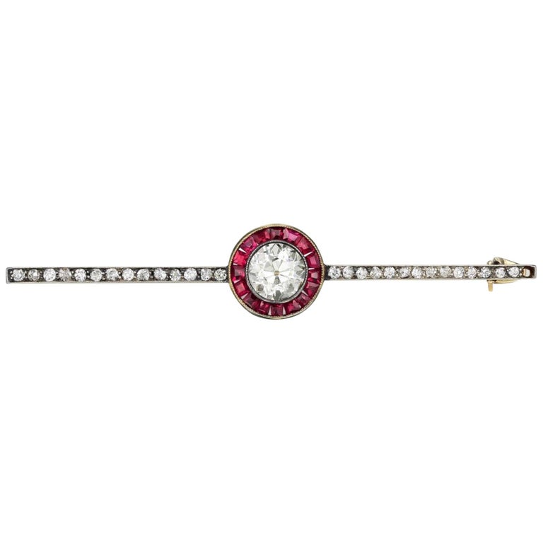 Antique Diamond and Ruby Bar Pin