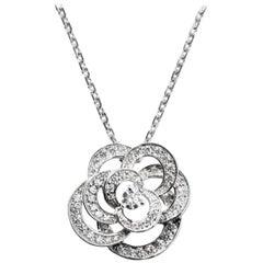 Chanel Fil de Camélia Pendant Necklace 18k White Gold & Diamonds 0.75 ct. J2580