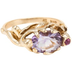Nude Figural Ring Vintage Amethyst Ruby Flower 14 Karat Gold Estate Jewelry